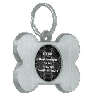 Black Grey Fractal Kaleidoscope Pet Tag