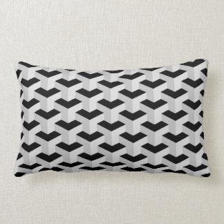 Black & Grey Geometric Pattern Lumbar Pillow