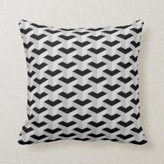 Black & Grey Geometric Pattern Throw Pillow