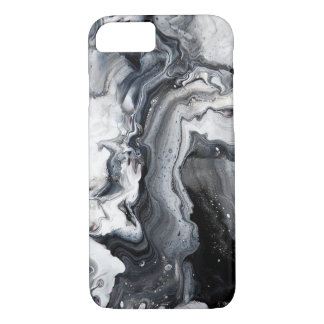 Black Grey Modern Marble Pattern Barely There iPhone 8/7 Case