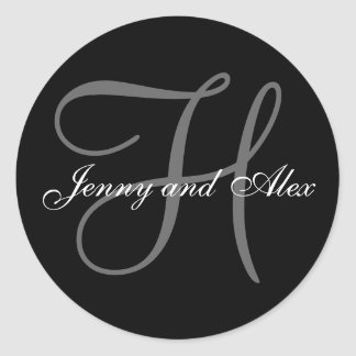 Black Grey Monogram H Bride Groom Names Wedding Round Sticker