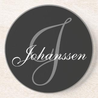 Black Grey Monogram J Wedding Anniversary Coaster