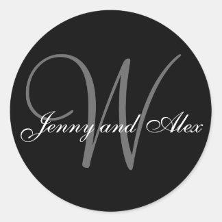 Black Grey Monogram W Bride Groom Names Wedding Round Sticker