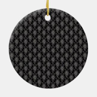 Black & Grey Old Victorian Pattern Design Texture Round Ceramic Ornament