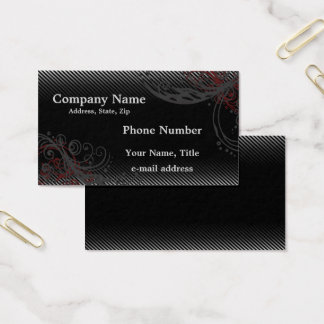 Black Grey Pinstripes and Swirls Business Card
