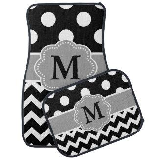 Black Grey Polka Dots Chevron Monogram Floor Mat