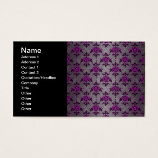 Black Grey Purple Victorian Damask Pattern Business Card