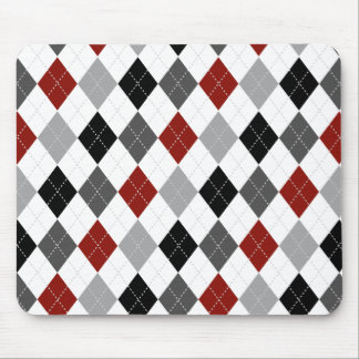 Black, Grey, Red, and White Argyle Preppy Mousepad