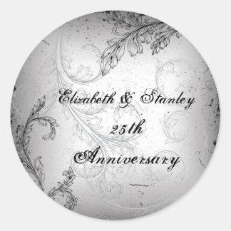 Black grey scroll 25th silver wedding anniversary classic round sticker