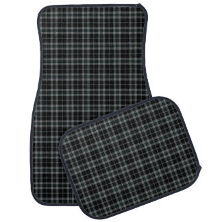 Black Grey Small Tartan Plaid Car Mat