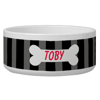 Black & Grey Stripes With Bone Pet Bowl