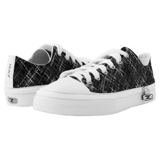 Black Grey White Woven Pattern Low Top Canvas Shoe