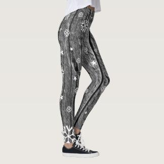 Black Grey Woodgrain & White  Snowflakes Stars Leggings