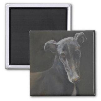 Black Greyhound Dog Art Magnet