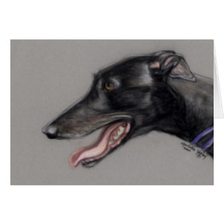 Black Greyhound Dog Art Notecard