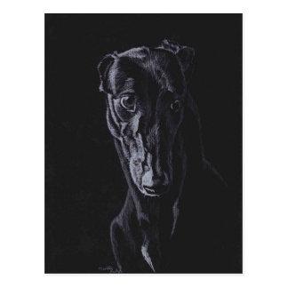 Black Greyhound Dog Art Postcard