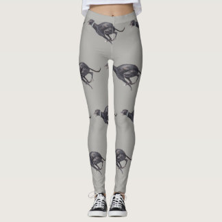 Black Greyhound Running Dog Art Leggings