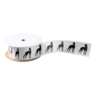 Black Greyhound Silhouette Satin Ribbon