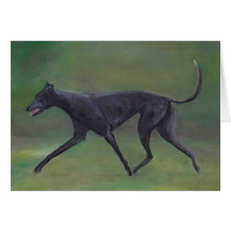 Black Greyhound Trotting Dog Art Note Card