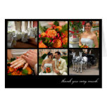 Black grid collage 6 photos memories thank you note card