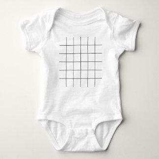 black grid ,   white background baby bodysuit