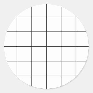 black grid ,   white background classic round sticker