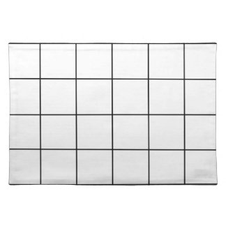 black grid ,   white background placemat