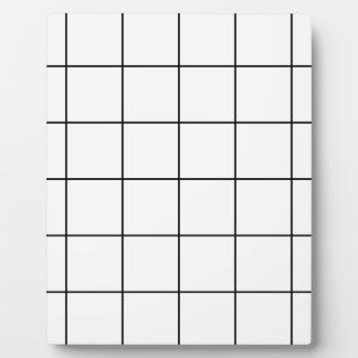 black grid ,   white background plaque