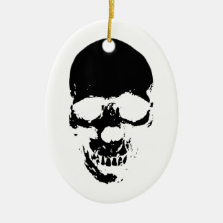 Black Grim Reaper Skull Ceramic Ornament