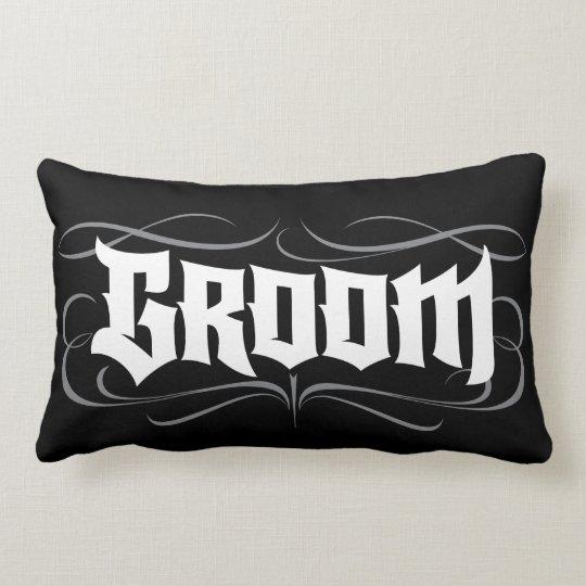 Black Groom Goth Lettering Tattoo Modern Lumbar Pillow