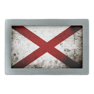 Black Grunge Alabama State Flag Belt Buckle