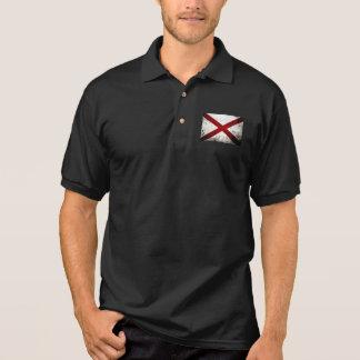 Black Grunge Alabama State Flag Polo Shirt