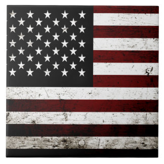 Black Grunge American Flag Tile