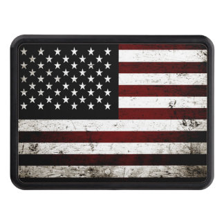 Black Grunge American Flag Trailer Hitch Cover