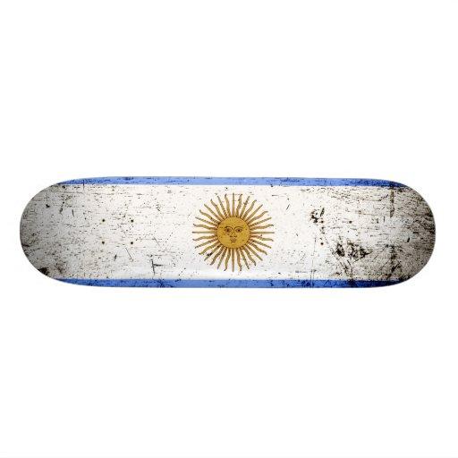 Black Grunge Argentina Flag Custom Skate Board