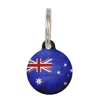 Black Grunge Australia Flag Pet Name Tag