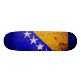 Black Grunge Bosnia and Herzegovina Flag Skateboard Deck