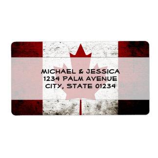 Black Grunge Canada Flag Shipping Label