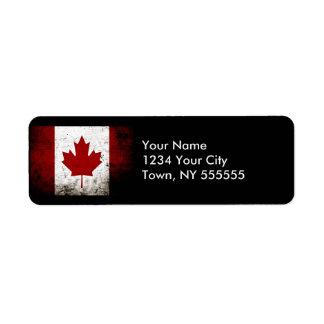 Black Grunge Canada Flag Return Address Label