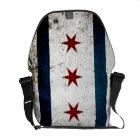 Black Grunge Chicago Flag Courier Bag