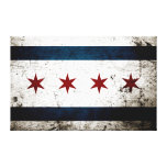 Black Grunge Chicago Flag Gallery Wrapped Canvas