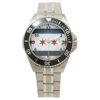 Black Grunge Chicago Flag Watch