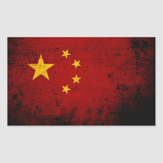 Black Grunge China Flag Sticker