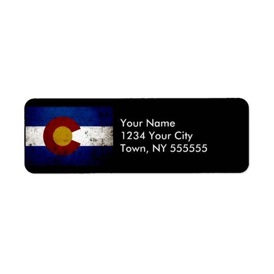 Black Grunge Colorado State Flag Return Address Label