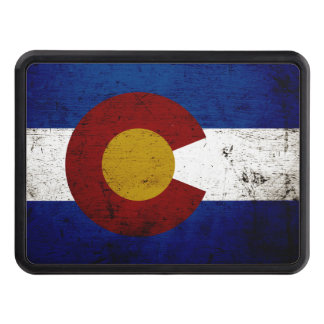 Black Grunge Colorado State Flag Trailer Hitch Cover