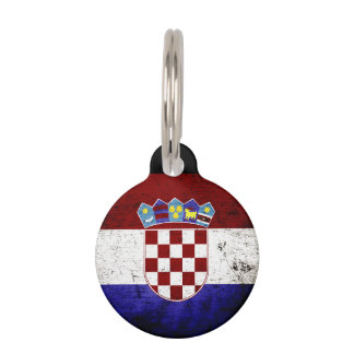 Black Grunge Croatia Flag Pet ID Tag