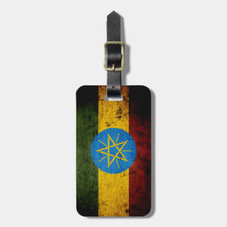 Black Grunge Ethiopia Flag Luggage Tag