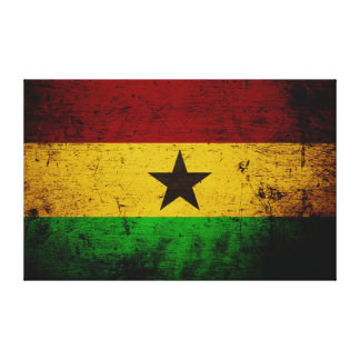 Black Grunge Ghana Flag Canvas Print