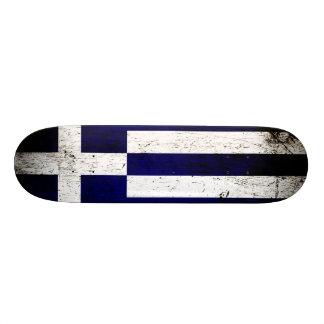 Black Grunge Greece Flag Skate Board Deck