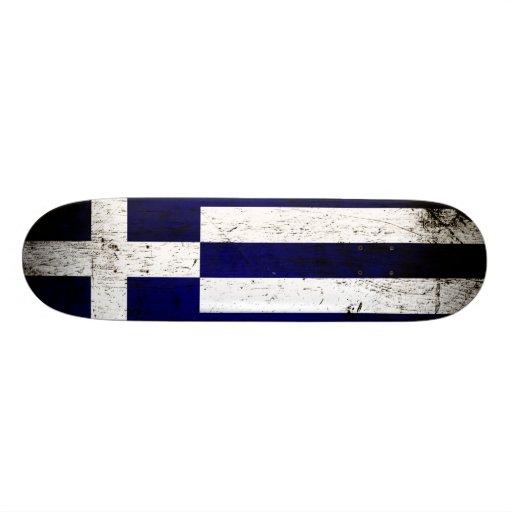 Black Grunge Greece Flag Skate Boards